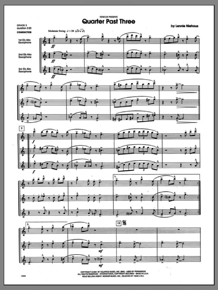Quarter Past Three (COMPLETE) sheet music for saxophone quartet by Lennie Niehaus, classical score, intermediate skill level