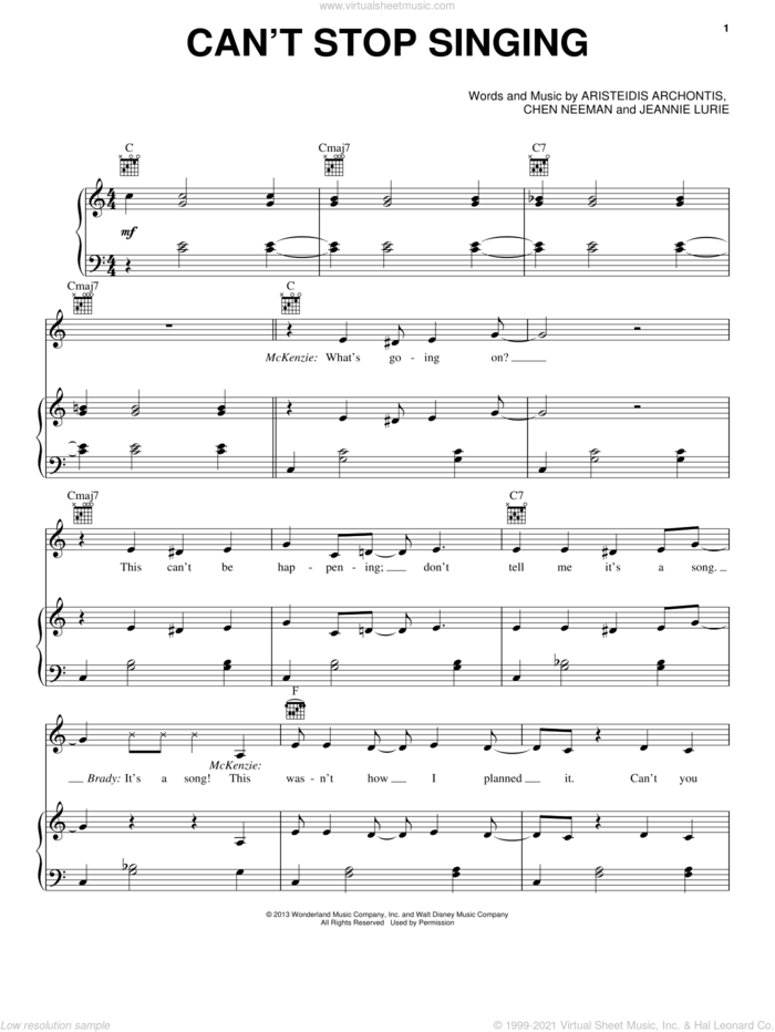 Can't Stop Singing sheet music for voice, piano or guitar by Chen Neeman, Aristeidis Archontis, Jeannie Lurie and Teen Beach Movie (Movie), intermediate skill level