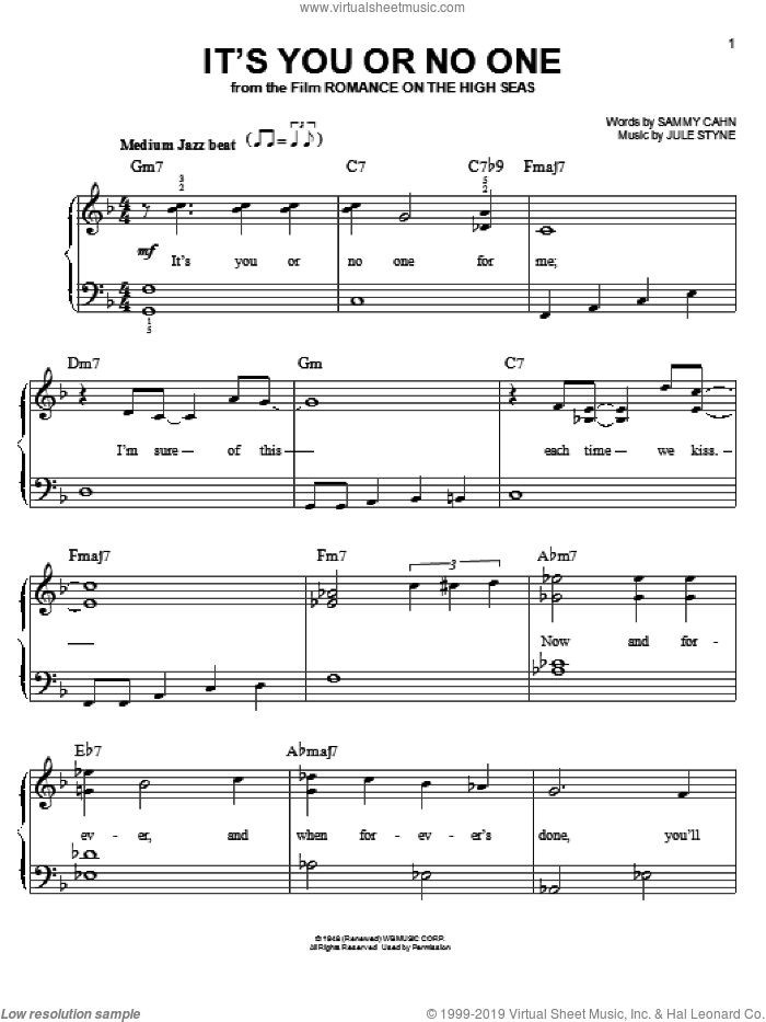 It's You Or No One sheet music for piano solo by Sammy Cahn and Jule Styne, easy skill level