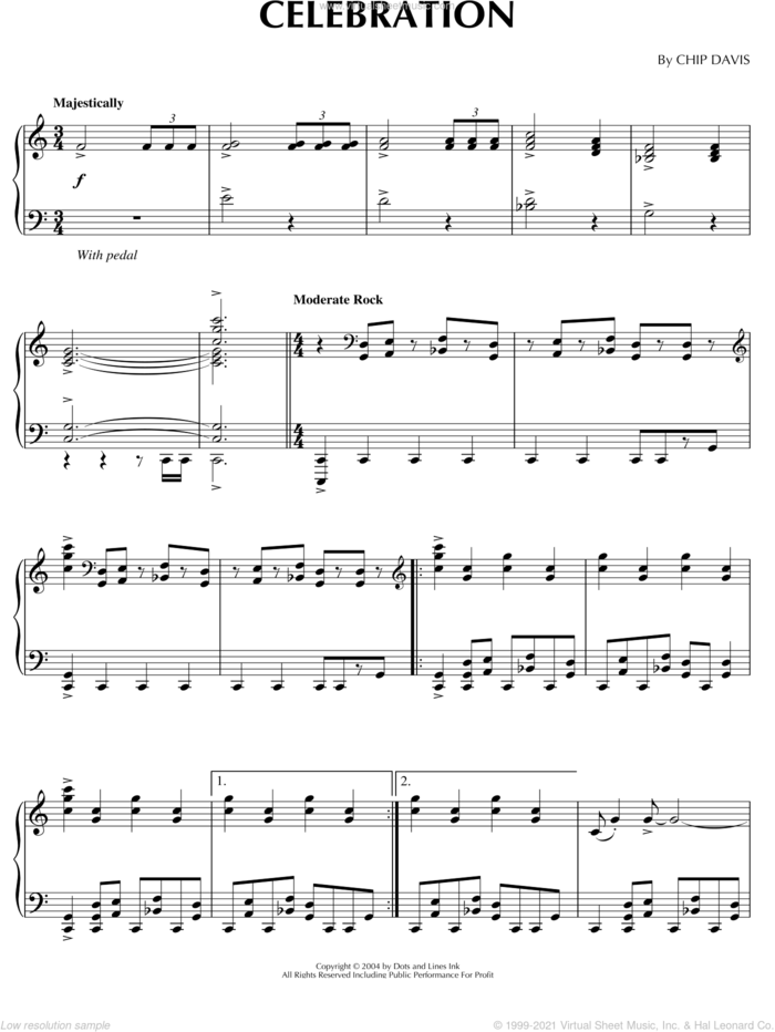 Celebration sheet music for piano solo by Mannheim Steamroller and Chip Davis, intermediate skill level
