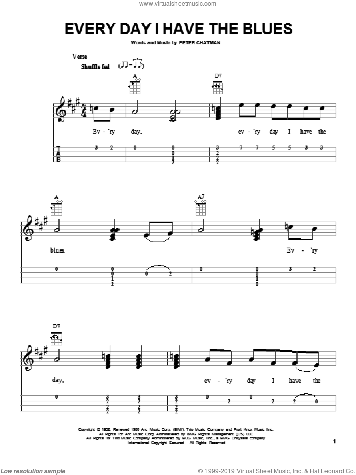 Every Day I Have The Blues sheet music for ukulele (easy tablature) (ukulele easy tab) by B.B. King and Peter Chatman, intermediate skill level
