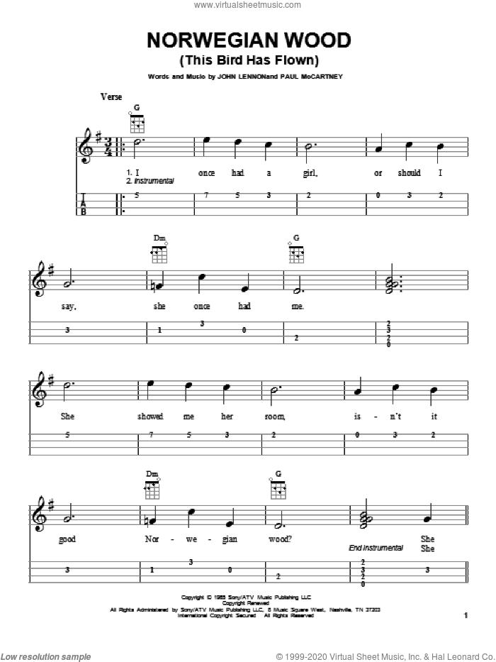 Norwegian Wood (This Bird Has Flown) sheet music for ukulele (easy tablature) (ukulele easy tab) by The Beatles, John Lennon and Paul McCartney, intermediate skill level