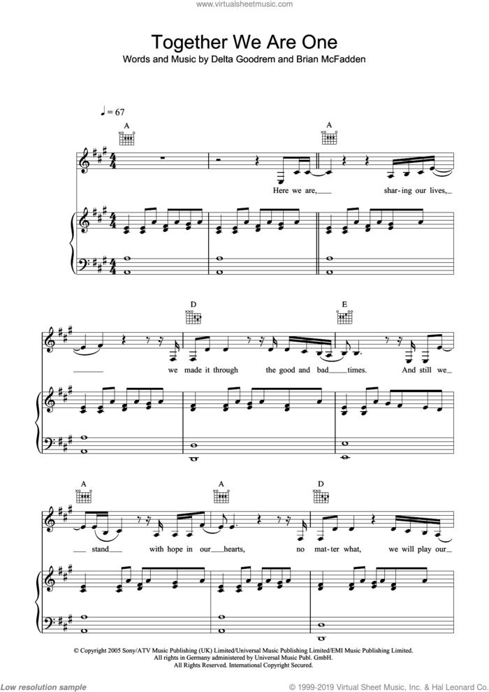 Together We Are One sheet music for voice, piano or guitar by Delta Goodrem, Brian McFadden and Guy Chambers, intermediate skill level