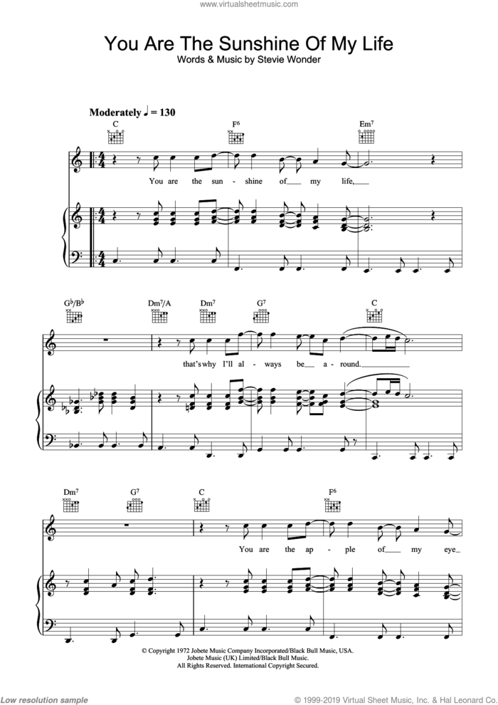 You Are The Sunshine Of My Life sheet music for voice, piano or guitar by Stevie Wonder, wedding score, intermediate skill level