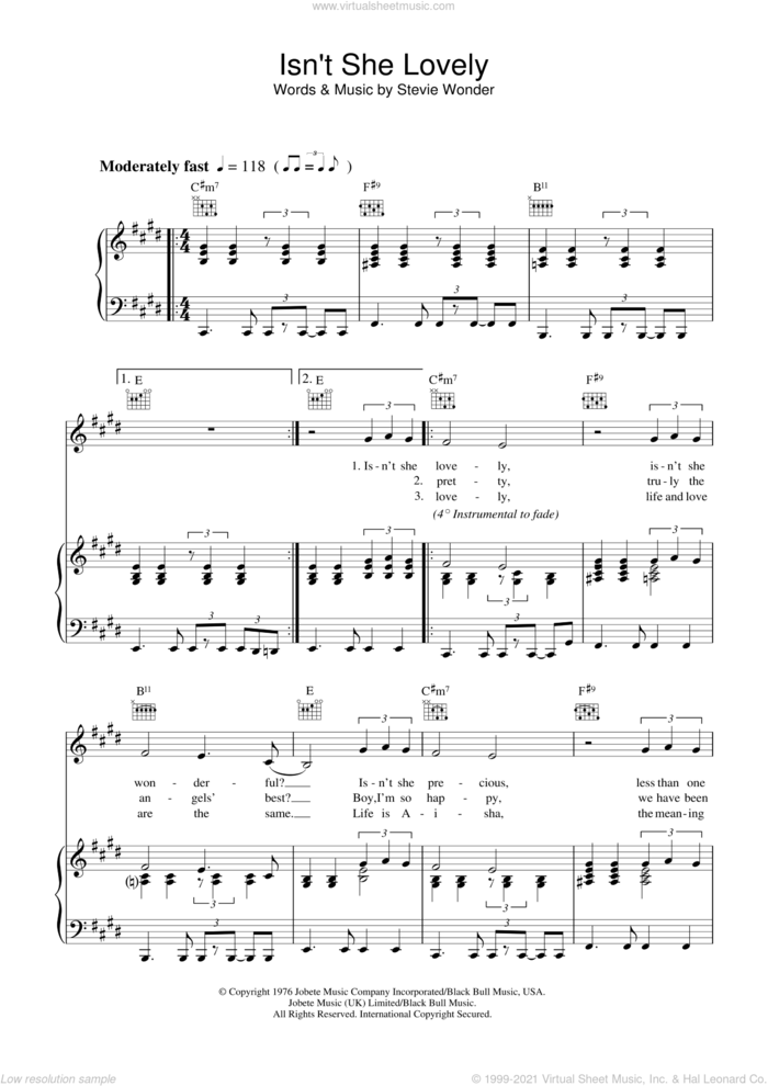 Isn't She Lovely sheet music for voice, piano or guitar by Stevie Wonder, intermediate skill level