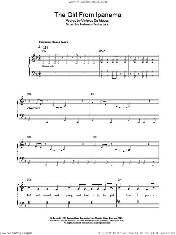 The Girl From Ipanema (Garota De Ipanema) sheet music for piano solo by Antonio Carlos Jobim and Vinicius de Moraes, easy skill level