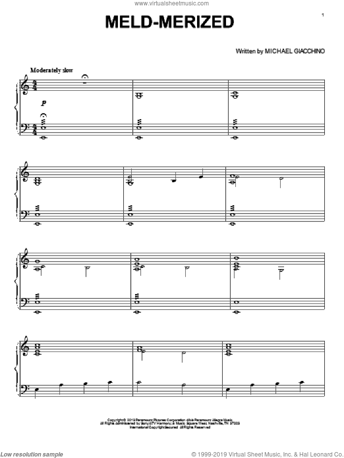 Meld-Merized sheet music for piano solo by Michael Giacchino and Star Trek: Into Darkness (Movie), intermediate skill level