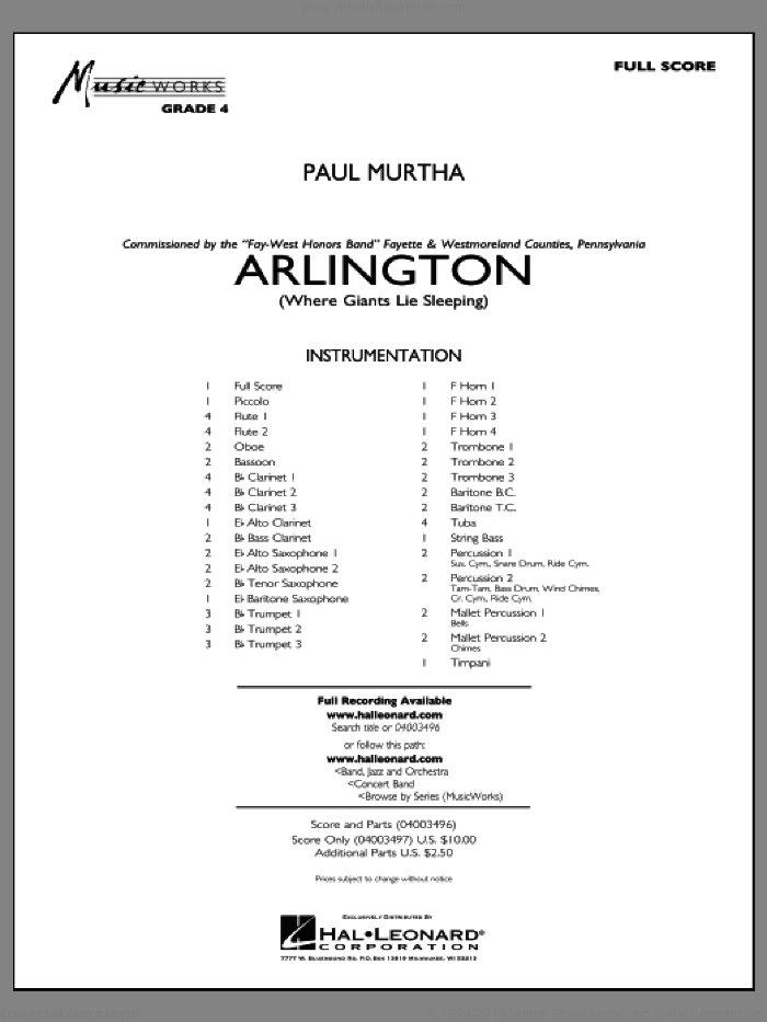 Arlington (Where Giants Lie Sleeping) (COMPLETE) sheet music for concert band by Paul Murtha, intermediate skill level
