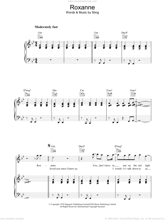 Roxanne sheet music for voice, piano or guitar by The Police and Sting, intermediate skill level