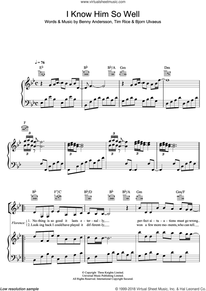 I Know Him So Well (from Chess) sheet music for voice, piano or guitar by Tim Rice, Chess (Musical), Susan Boyle, Benny Andersson, Benny Andersson, Tim Rice and Bjorn Ulvaeus and Bjorn Ulvaeus, intermediate skill level