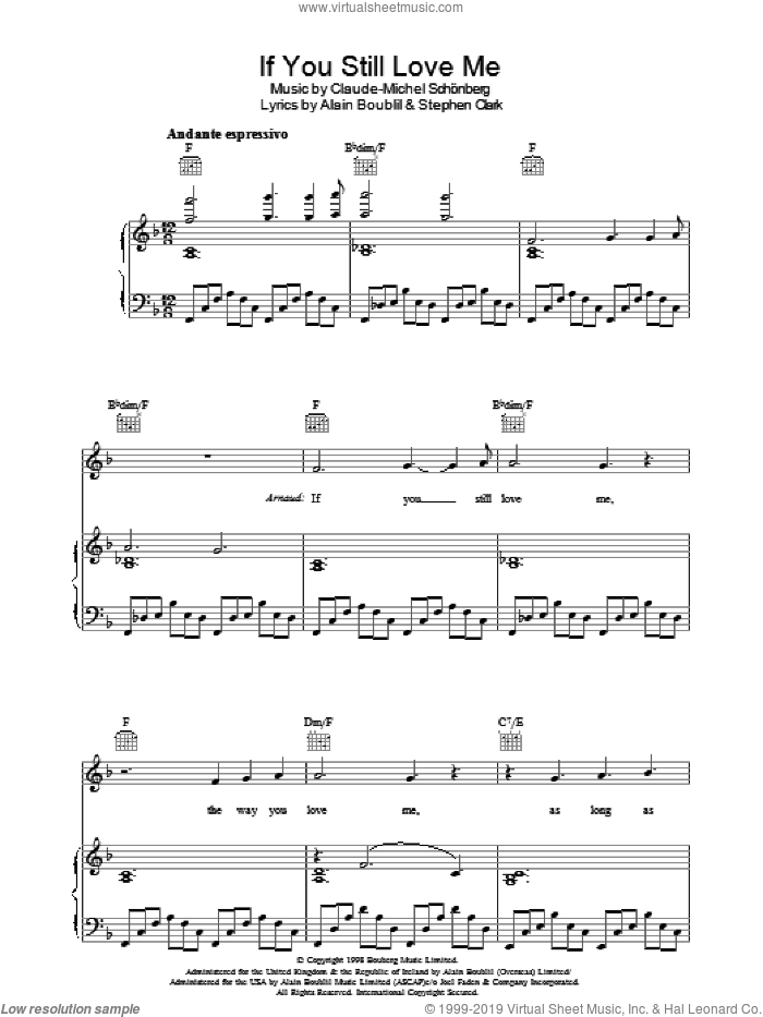 If You Still Love Me (from Martin Guerre) sheet music for voice, piano or guitar by Claude-Michel Schonberg, Martin Guerre (Musical), Alain Boublil, Boublil and Schonberg and Steve Clark, intermediate skill level