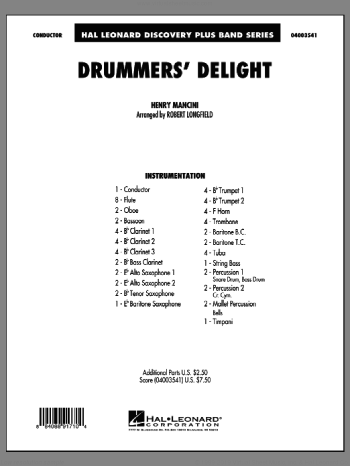 Drummers' Delight (COMPLETE) sheet music for concert band by Henry Mancini and Robert Longfield, intermediate skill level