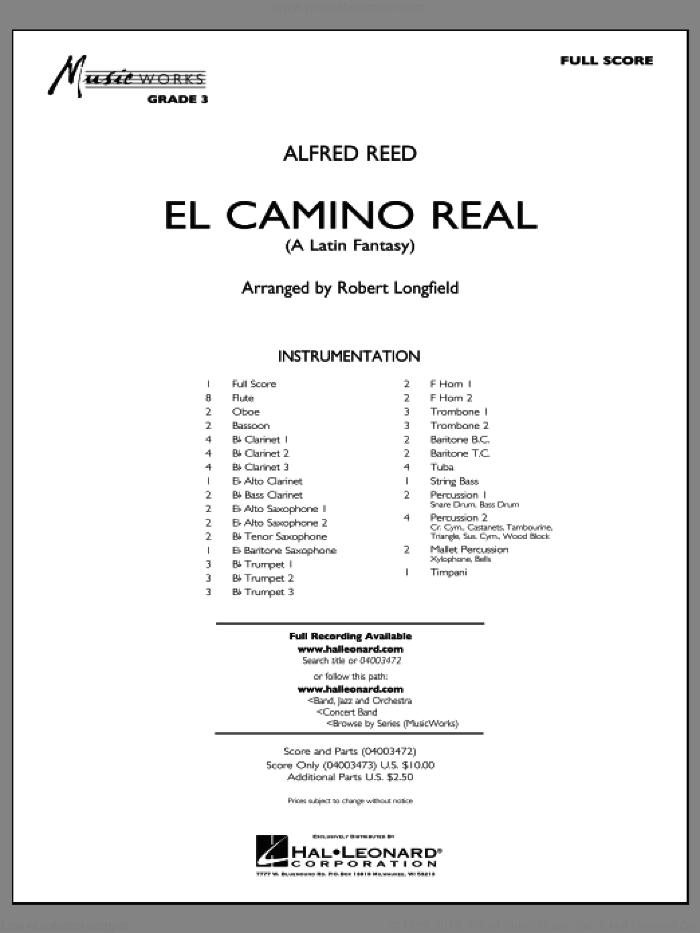 El Camino Real (COMPLETE) sheet music for concert band by Alfred Reed and Robert Longfield, intermediate skill level