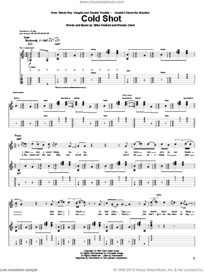Cold Shot sheet music for guitar (tablature) by Stevie Ray Vaughan, Mike Kindred and Wesley Clark, intermediate skill level