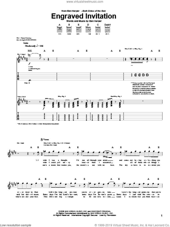 Engraved Invitation sheet music for guitar (tablature) by Ben Harper, intermediate skill level