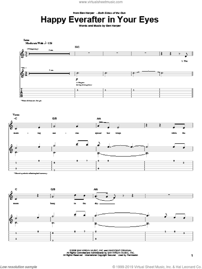 Happy Everafter In Your Eyes sheet music for guitar (tablature) by Ben Harper, intermediate skill level