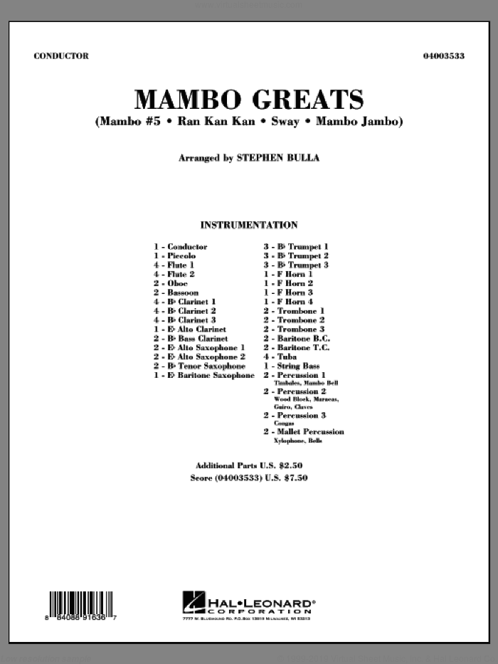Mambo Greats (COMPLETE) sheet music for concert band by Stephen Bulla, intermediate skill level