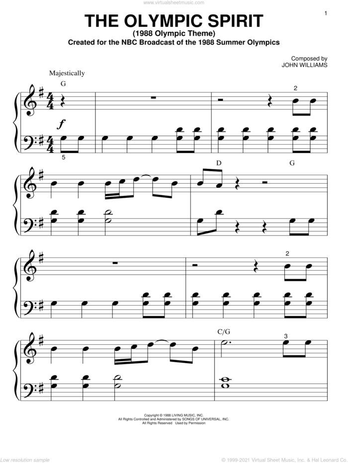 The Olympic Spirit (1988 Olympic Theme) sheet music for piano solo (big note book) by John Williams, easy piano (big note book)