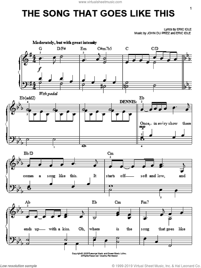 The Song That Goes Like This sheet music for piano solo by Monty Python's Spamalot, Eric Idle and John Du Prez, easy skill level