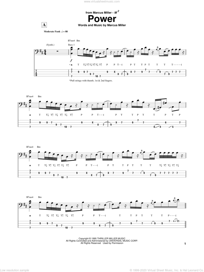 Power sheet music for bass (tablature) (bass guitar) by Marcus Miller, intermediate skill level