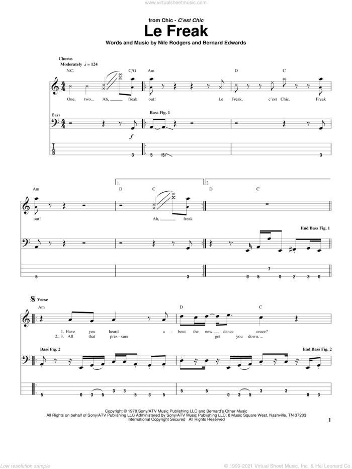 Le Freak sheet music for bass (tablature) (bass guitar) by Chic, Bernard Edwards and Nile Rodgers, intermediate skill level