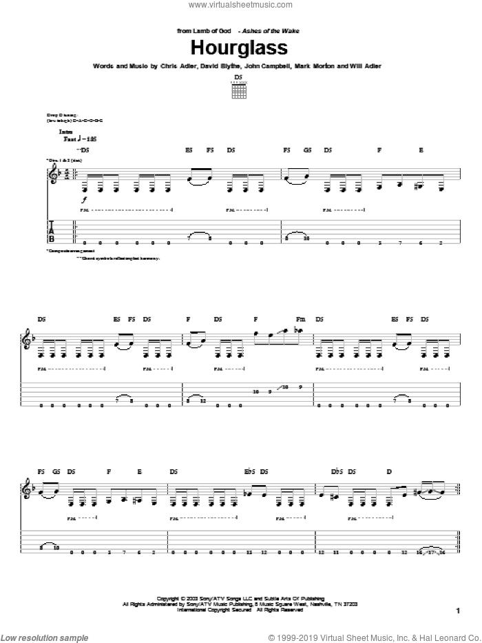 Hourglass sheet music for guitar (tablature) by Lamb Of God, Chris Adler, David Blythe, John Campbell, Mark Morton and Will Adler, intermediate skill level