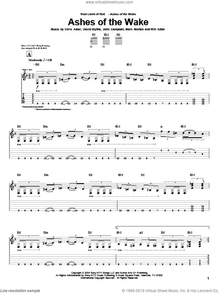 Ashes Of The Wake sheet music for guitar (tablature) by Lamb Of God, Chris Adler, David Blythe, John Campbell, Mark Morton and Will Adler, intermediate skill level