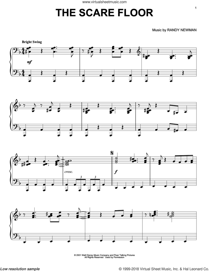 The Scare Floor sheet music for piano solo by Randy Newman, Monsters University (Movie) and Monsters, Inc. (Movie), intermediate skill level
