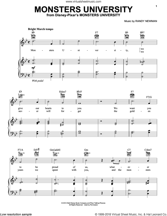 Monsters University sheet music for voice, piano or guitar by Randy Newman, Monsters University (Movie) and Monsters, Inc. (Movie), intermediate skill level