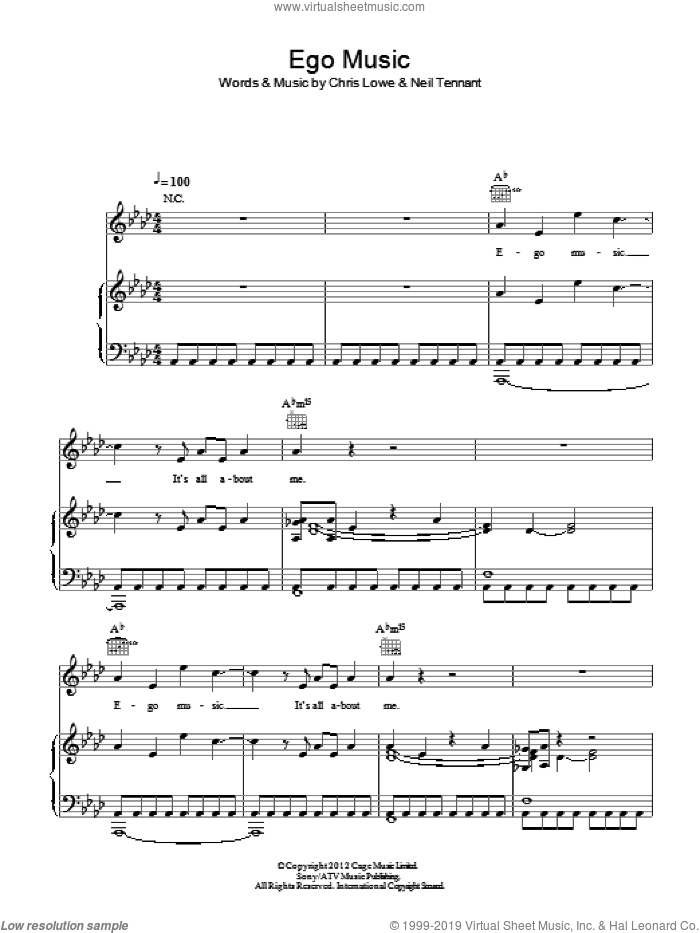 Ego Music sheet music for voice, piano or guitar by Pet Shop Boys, Chris Lowe and Neil Tennant, intermediate skill level