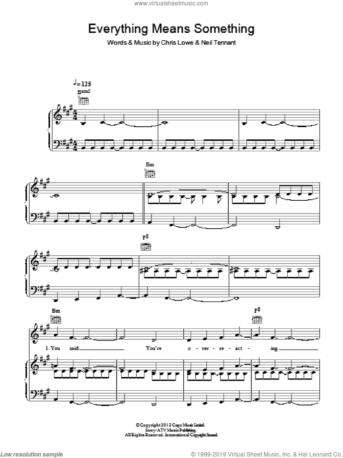 Everything Means Something sheet music for voice, piano or guitar by Pet Shop Boys, Chris Lowe and Neil Tennant, intermediate skill level
