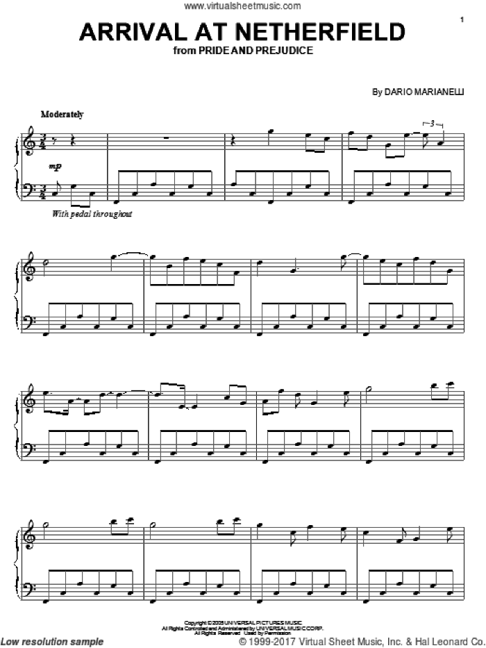 Movie Selections from Pride and Prejudice (complete set of parts) sheet music for piano solo by Dario Marianelli and Pride & Prejudice (Movie), intermediate skill level