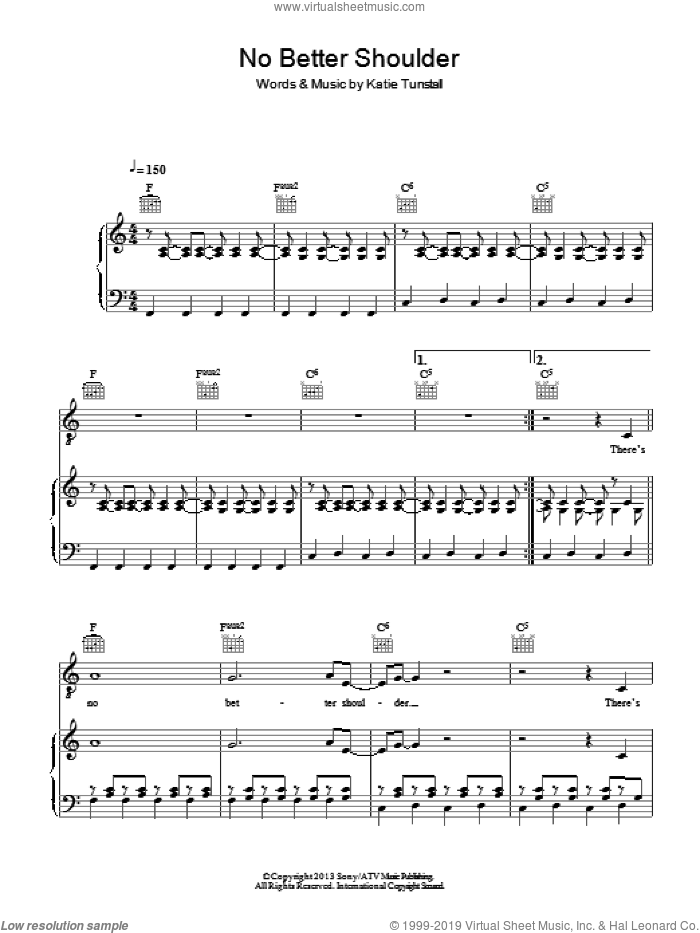 No Better Shoulder sheet music for voice, piano or guitar by KT Tunstall, intermediate skill level