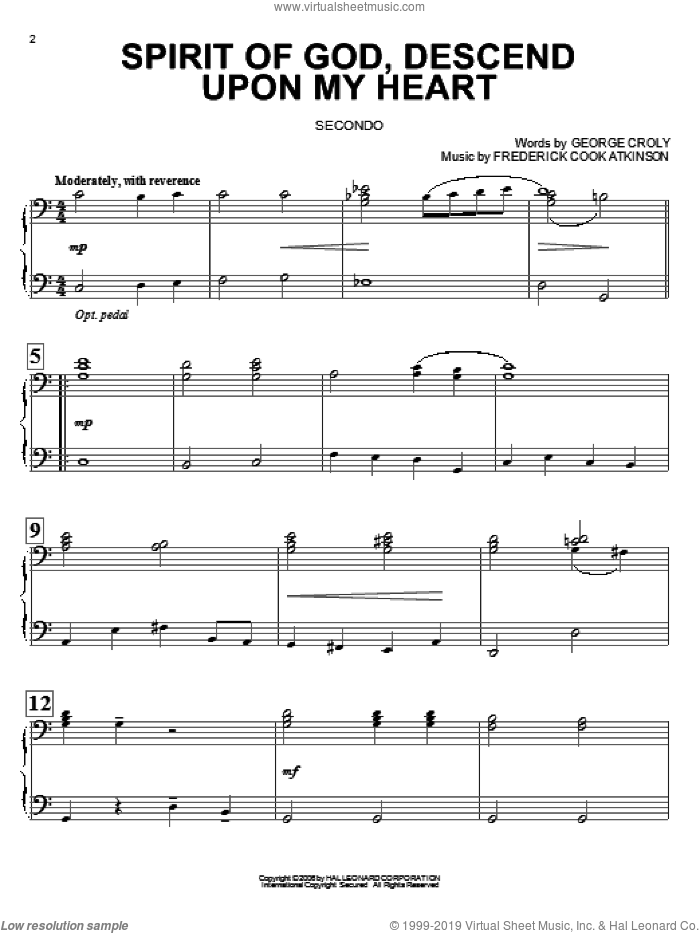 Spirit Of God, Descend Upon My Heart sheet music for piano four hands by George Croly and Frederick Cook Atkinson, intermediate skill level