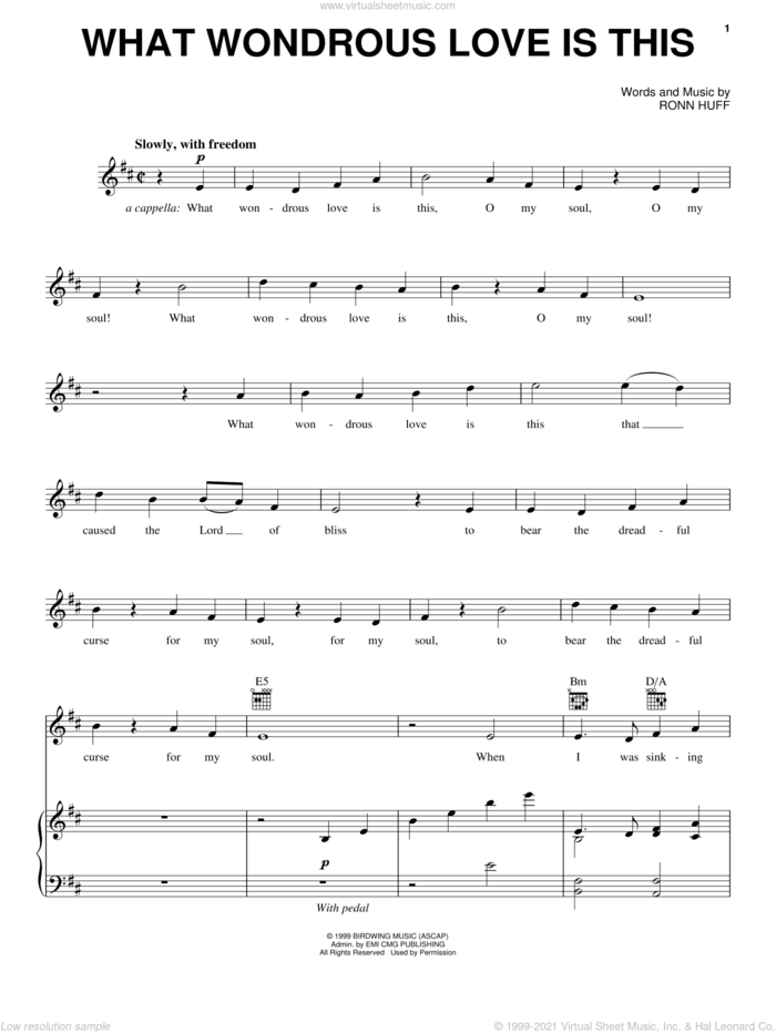 What Wondrous Love Is This sheet music for voice, piano or guitar by Steve Green and Ronn Huff, intermediate skill level