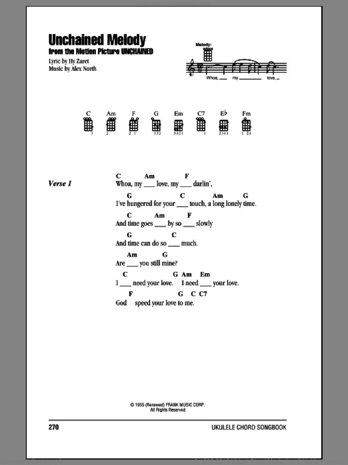 Unchained Melody sheet music for ukulele (chords) by The Righteous Brothers and Elvis Presley, intermediate skill level