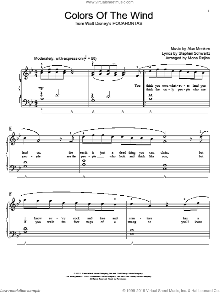Colors Of The Wind sheet music for piano solo (elementary) by Alan Menken, Miscellaneous, Mona Rejino, Vanessa Williams and Stephen Schwartz, beginner piano (elementary)