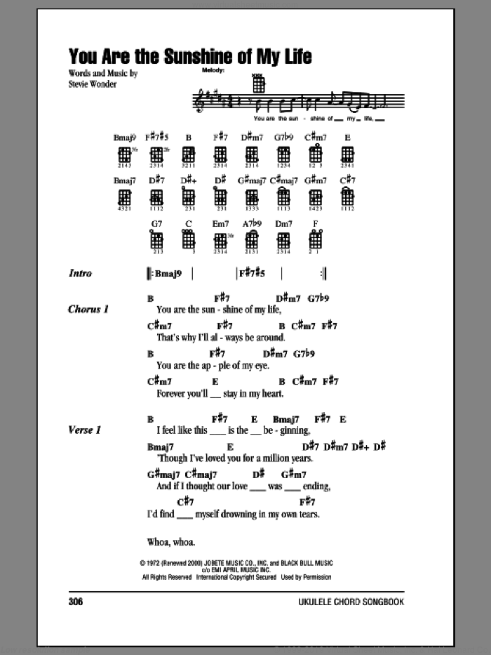 You Are The Sunshine Of My Life sheet music for ukulele (chords) by Stevie Wonder, intermediate skill level