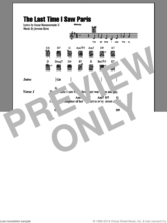 The Last Time I Saw Paris sheet music for ukulele (chords) by Oscar II Hammerstein, intermediate skill level