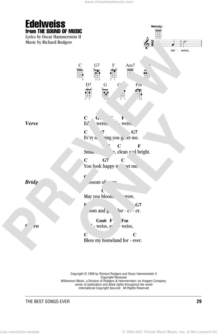 Edelweiss sheet music for ukulele (chords) by Richard Rodgers and Oscar II Hammerstein, intermediate skill level
