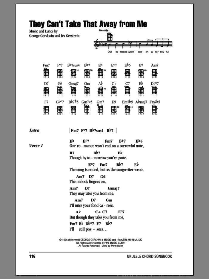 They Can't Take That Away From Me sheet music for ukulele (chords) by Frank Sinatra, George Gershwin and Ira Gershwin, intermediate skill level