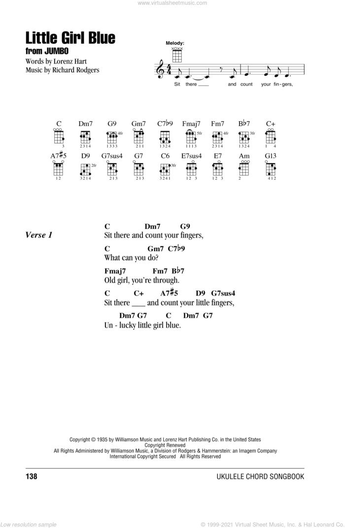 Little Girl Blue sheet music for ukulele (chords) by Richard Rodgers and Lorenz Hart, intermediate skill level