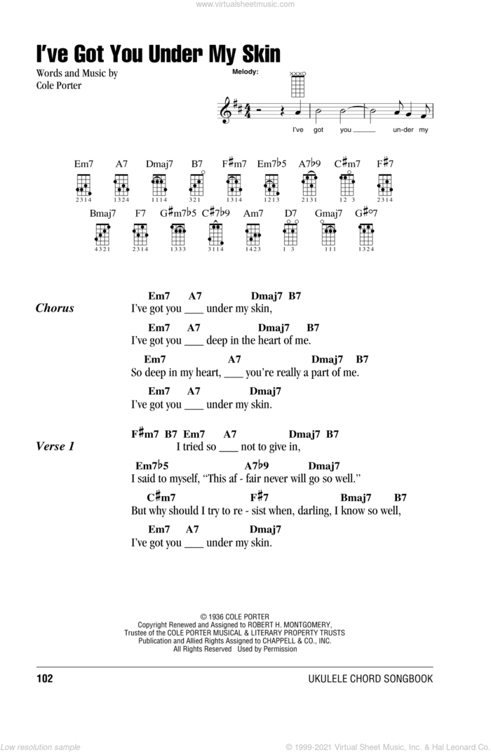 I've Got You Under My Skin sheet music for ukulele (chords) by Cole Porter, intermediate skill level