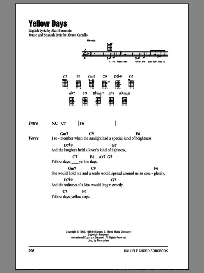 Yellow Days sheet music for ukulele (chords) by Frank Sinatra, Alan Bernstein and Alvaro Carrillo, intermediate skill level