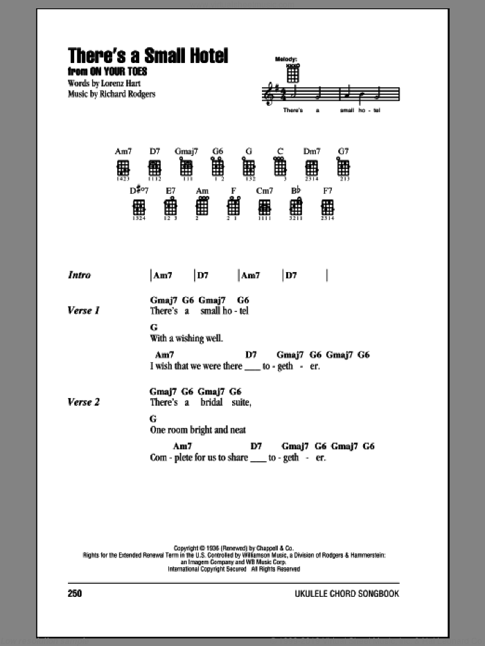 There's A Small Hotel sheet music for ukulele (chords) by Rodgers & Hammerstein, Charlie Byrd, Lorenz Hart, Richard Rodgers, Ruby Braff and Sammy Davis, Jr., intermediate skill level