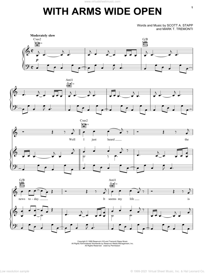 With Arms Wide Open sheet music for voice, piano or guitar by Creed, intermediate skill level