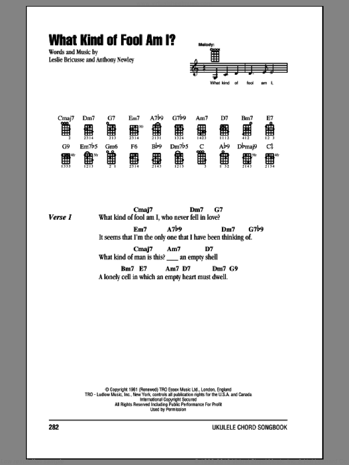 What Kind Of Fool Am I? sheet music for ukulele (chords) by Leslie Bricusse, Andy Williams, Anthony Newley and Sammy Davis, Jr., intermediate skill level