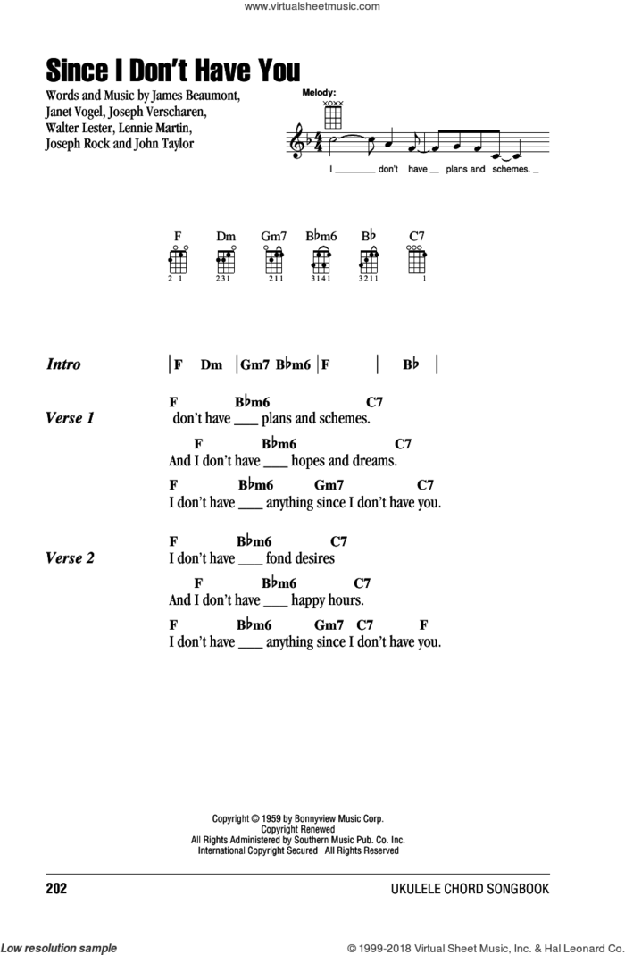 Since I Don't Have You sheet music for ukulele (chords) by The Skyliners, intermediate skill level