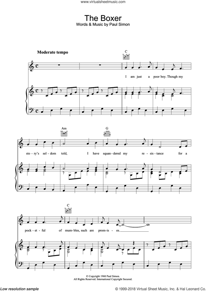 The Boxer sheet music for voice, piano or guitar by Simon & Garfunkel and Paul Simon, intermediate skill level