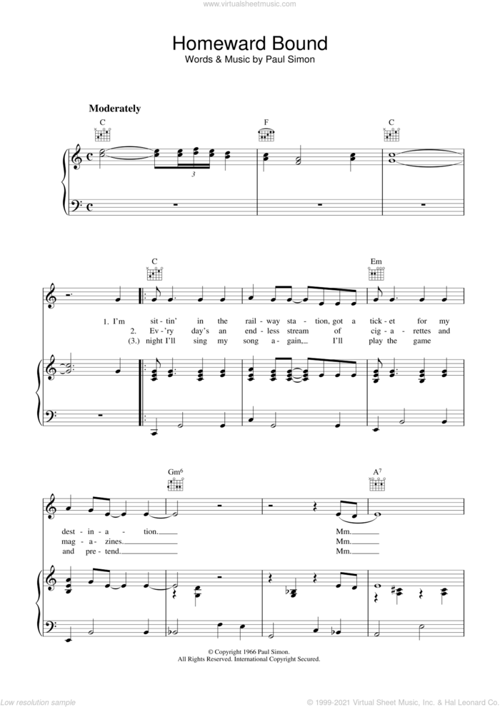 Homeward Bound sheet music for voice, piano or guitar by Simon & Garfunkel and Paul Simon, intermediate skill level